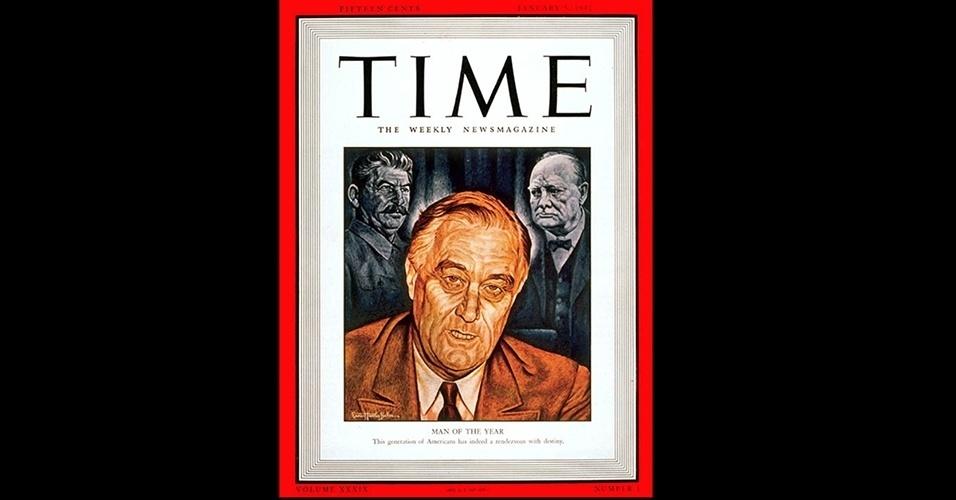 Franklin D. Roosevelt (1932, 1934 e 1941) - Outro líder ligado à Segunda Guerra que foi personalidade do ano foi o presidente norte-americano Franklin D. Roosevelt, a única pessoa da história a ser escolhido três vezes. Na primeira, em 1932, por ter sido eleito pela primeira vez; na segunda, dois anos depois, pela atuação na Casa Branca; e na terceira, em 1941, pela declaração de guerra ao Japão após o ataque à base de Pearl Harbor