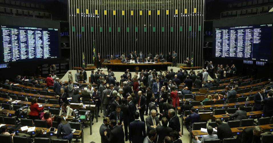 2.ago.2017 - Visão do Plenário da Câmara dos Deputados nesta quarta, quando será votada a denúncia contra o presidente Michel Temer
