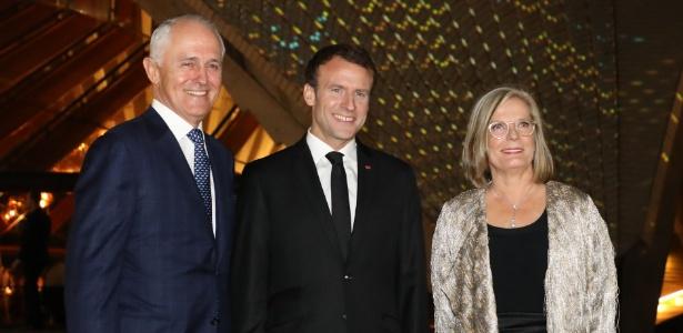 Presidente da França, Emmanuel Macron, ao lado do premiê da Austrália, Malcolm Turnbull e de sua mulher, Lucy