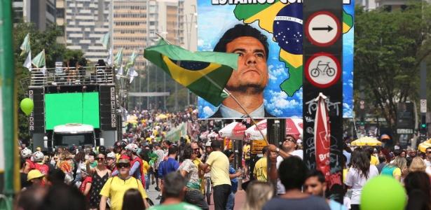 Protesto a favor de Bolsonaro na avenida Paulista, em SP