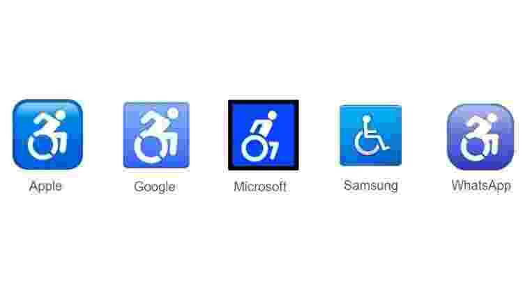 Emoji de acessibilidade em algumas plataformas --Samsung ainda mantém o formato antigo - Reprodução/emojipedia