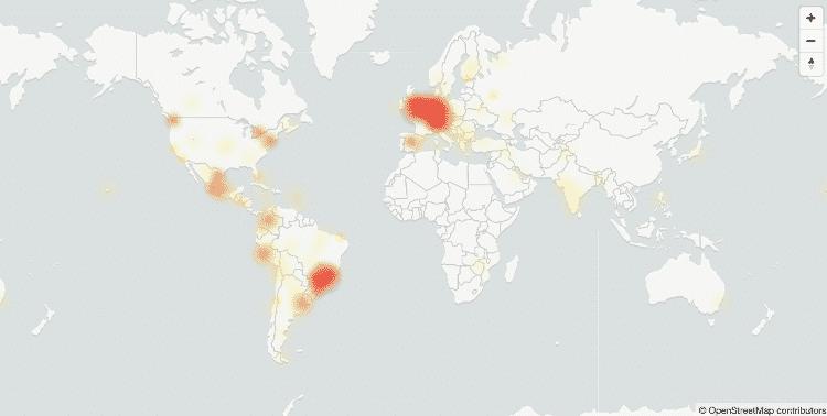 Mapa do site Downdetector com as ocorrências de queda no WhatsApp - Reprodução/Downdetector - Reprodução/Downdetector