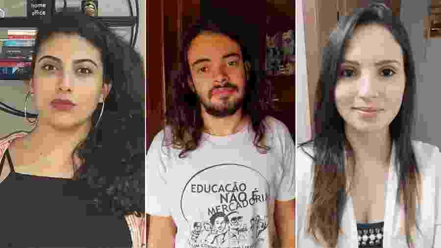 Leticia Andare (à esq.), Guilherme Cechet e Daiane Gonçalves: de volta à casa dos pais - Montagem/UOL