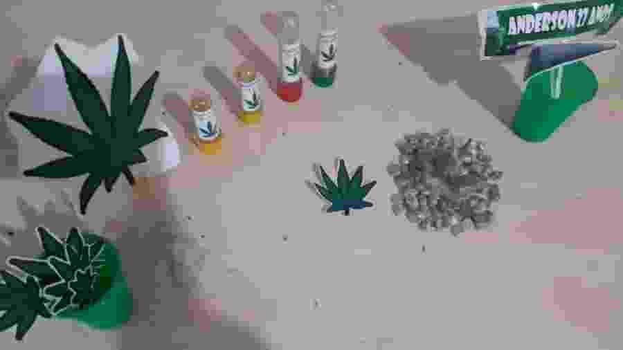 Evento tinha decoração inspirada em maconha e brindes com a droga - Polícia Militar do PA/Divulgação