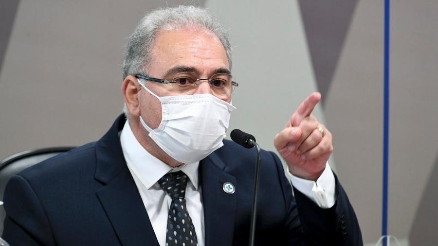 8.jun.2021 - O ministro da Saúde, Marcelo Queiroga, durante 2º depoimento à CPI da Covid no Senado - Jefferson Rudy/Agência Senado