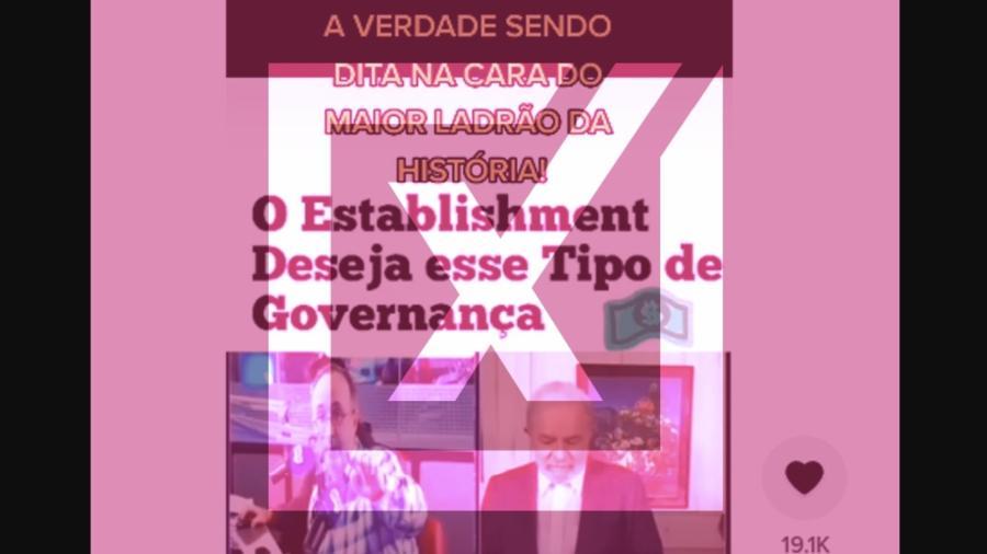 """2.set.2021 - É montagem vídeo em que Reinaldo Azevedo faz críticas """"na cara"""" de Lula - Arte/Projeto Comprova sobre Reprodução/TikTok"""