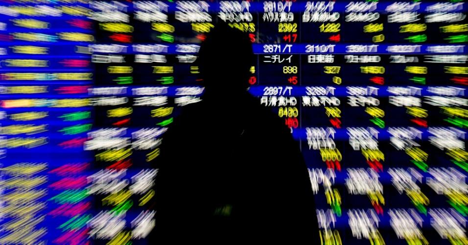 30.dez.2015 - Homem observa a evolução do índice Nikkei em painel eletrônico 33dd22dd640