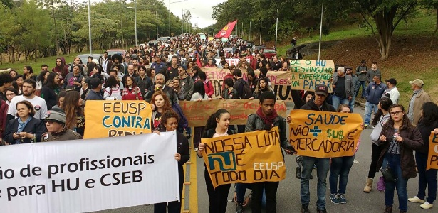 24.mai.2016 - Funcionários e médicos do Hospital Universitário da USP entraram em greve