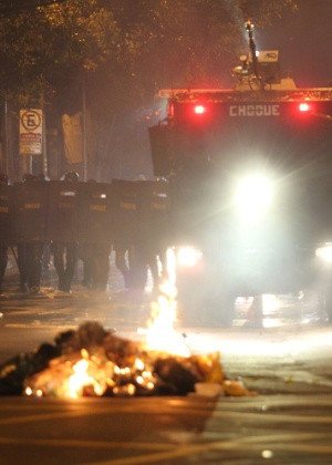 Tropa de Choque da PM de SP durante manifestação contra o governo Temer