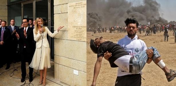 À esq., Ivanka Trump sorri na inauguração da embaixada dos EUA em Jerusalém; no mesmo momento, dezenas de palestinos morriam em confrontos em Gaza