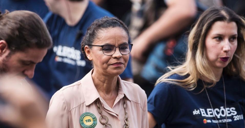Marina Silva (Rede) chega ao estúdio do SBT para participar do debate presidencial