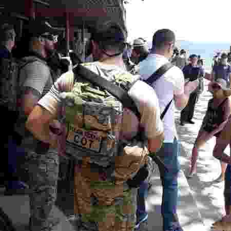 29.dez.2018 - Agentes da Polícia Federal fazem a segurança do primeiro-ministro de Israel, Benjamin Netanyahu, durante passagem dele pelo Rio - Divulgação - Divulgação
