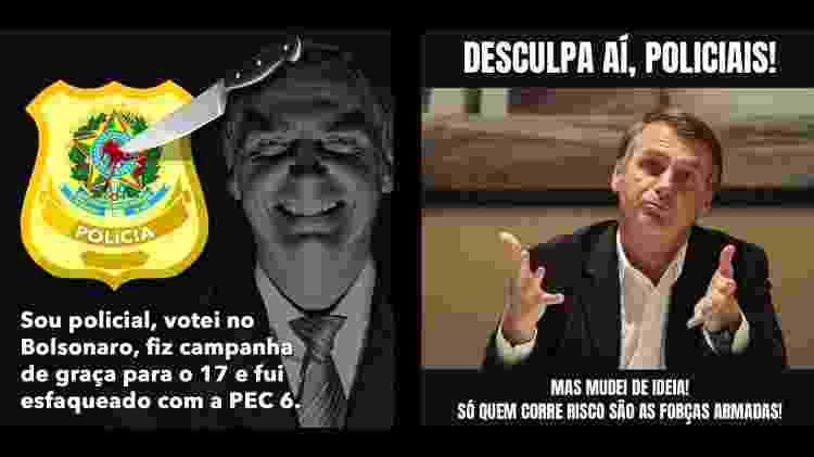 """Memes em grupos de whatsapp satirizam o presidente; um usa o termo """"facada"""" - Crédito: Reprodução/Whatsapp"""