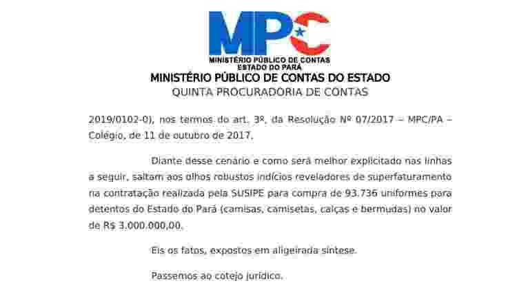 Representação feita pelo MPC sobre possível superfaturamento da Susipe - 06.ago.2019 - Reprodução - 06.ago.2019 - Reprodução