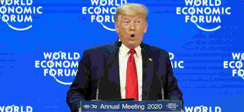 Presidente dos Estados Unidos, Donald Trump, discursa no Fórum Econômico Mundial em Davos, na Suíça - Guo Chen/Xinhua