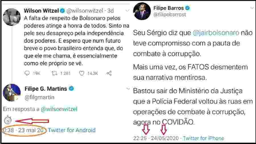 """Ministro autorizou operação na quinta. Na madrugada de domingo, assessor de Bolsonaro já mandava um """"não perde por esperar"""" para Witzel; deputado bolsonarista falou em operações da PF ainda no domingo. Polícia só entrou em ação na terça - Reprodução/Twitter"""