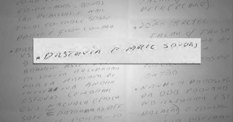 """24.jun.2015 - A Polícia Federal informou à Justiça ter apreendido, por volta de 10h da segunda-feira (22), um bilhete manuscrito do empresário Marcelo Odebrecht, presidente da maior empreiteira, que seria entregue a seus advogados. O bilhete, segundo a PF, contém a expressão """"destruir e-mail sondas"""""""