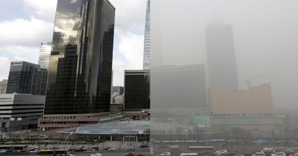 Veículos passam em frente ao distrito de negócios em Pequim, na China. À esquerda, local é visto em dia ensolarado de 2 de dezembro de 2015. Já à direita é possível notar como o clima fica em dia de intensa neblina de poluição, como em 1 de dezembro de 2015