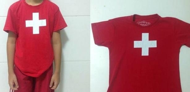 Menino de 8 anos foi hostilizado na escola de inglês ao usar camiseta com bandeira da Suíça - Arquivo Pessoal
