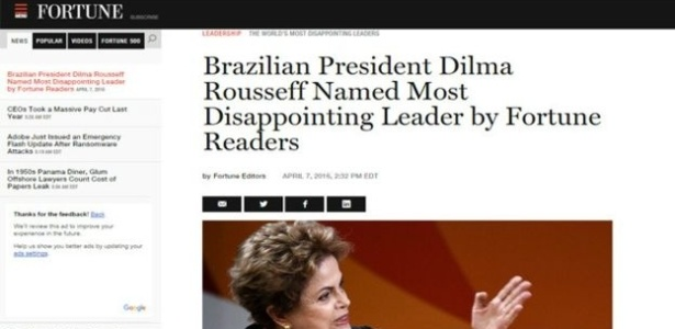 Enquete foi aberta pela revista por uma semana, e Dilma teve 374 mil votos, mais do que 20 vezes a votação do segundo colocado