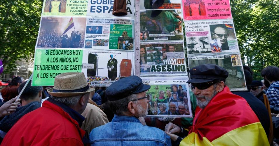 Manifestantes participam de evento do Dia do Trabalho em Madri