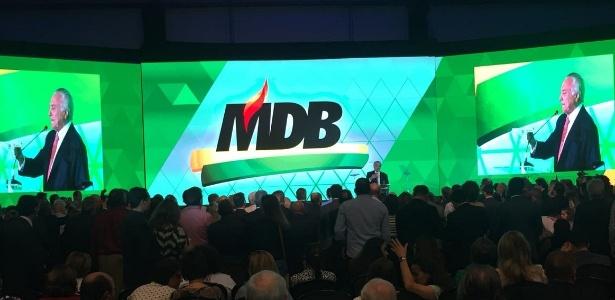 Temer discursa na convenção do PMDB, agora já sob o nome MDB - Gustavo Maia/UOL