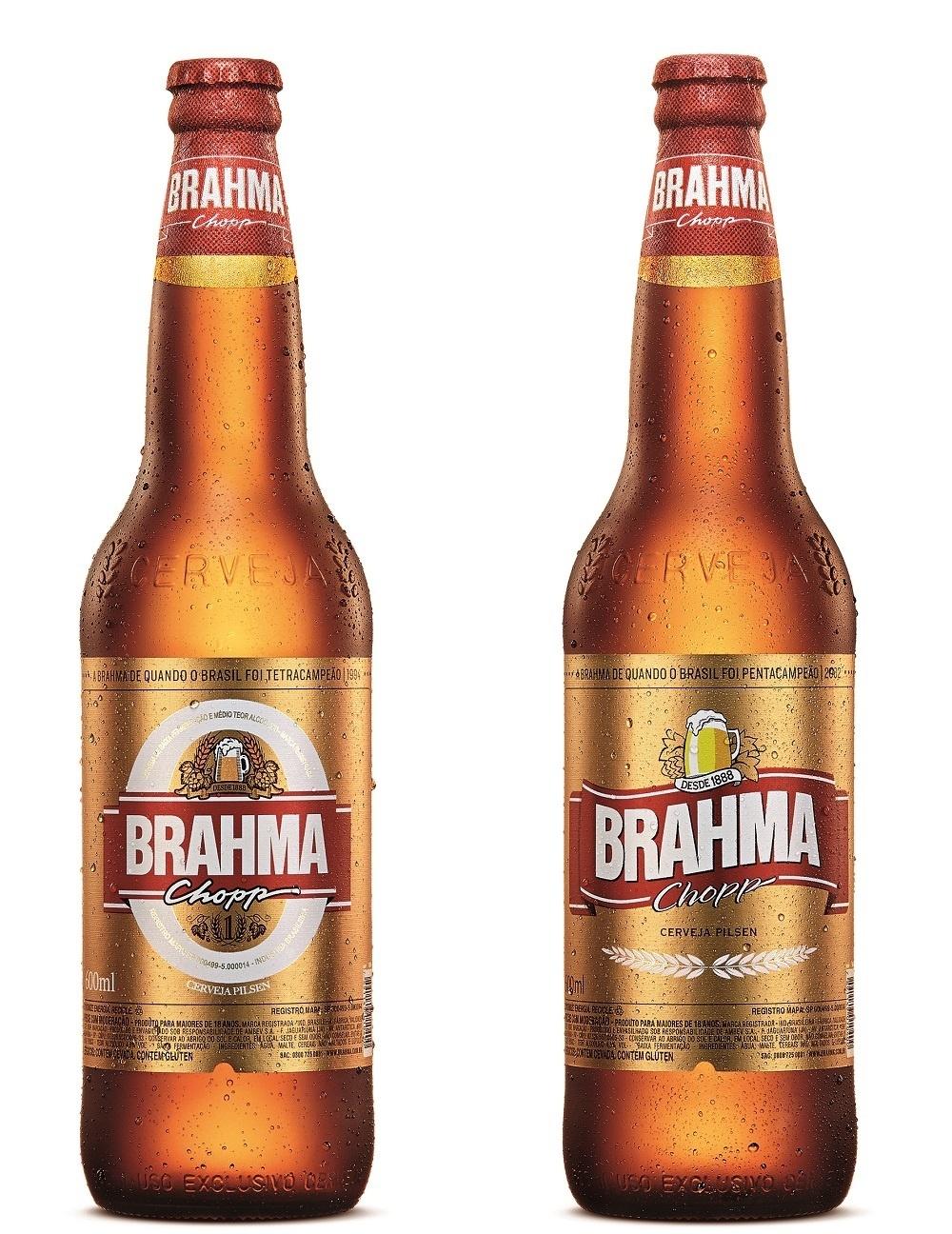 Rótulos da cerveja Brahma em 1994 e 2002