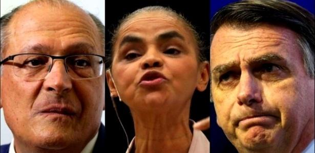 Os presidenciáveis Geraldo Alckmin (à esq.), Marina Silva (centro) e Jair Bolsonaro (à dir.)