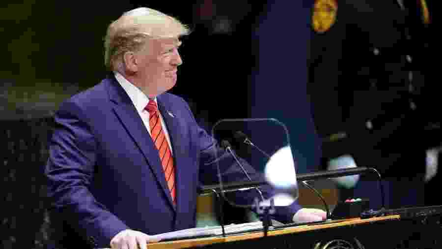 24.set.2019 - O presidente dos Estados Unidos, Donald Trump, discursa na 74ª Sessão da Assembleia Geral das Nações Unidas, em Nova York - Carlo Allegri/Reuters
