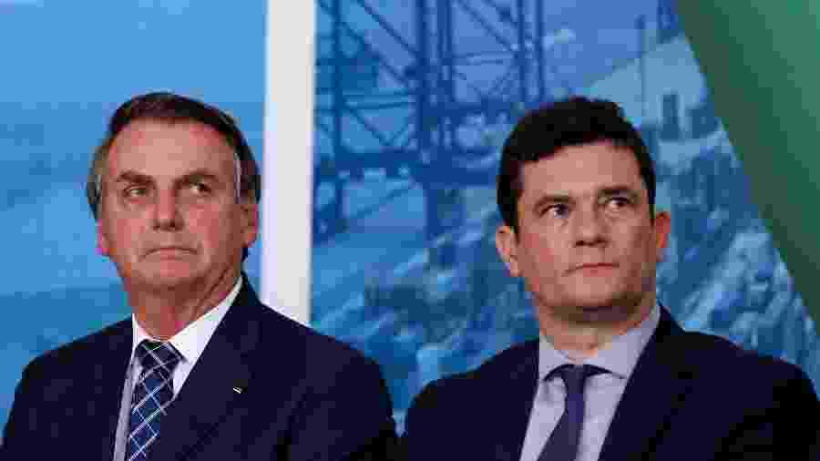 O presidente Jair Bolsonaro e o ministro Sergio Moro (Justiça e Segurança Pública) - Carolina Antunes - 18.dez.19/PR