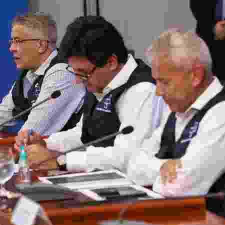 O secretário de Vigilância em Saúde, Wanderson de Oliveira, o ex-ministro Luiz Henrique Mandetta, e o secretário-executivo da pasta, João Gabbardo - José Dias/PR