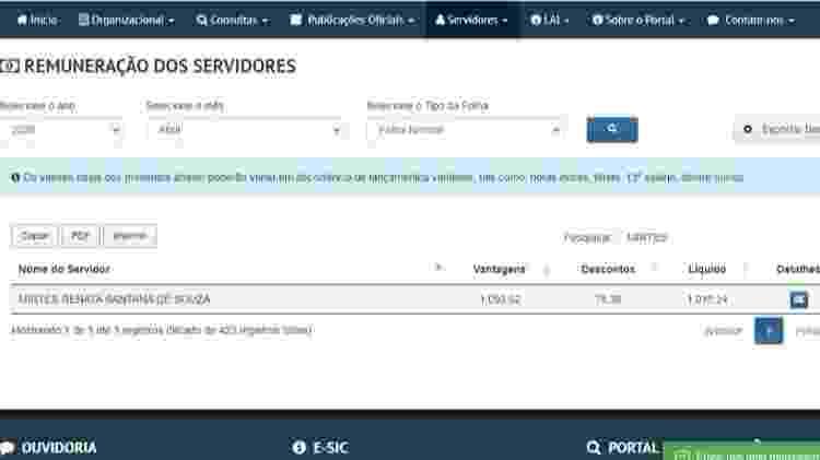 Remuneração de Mirtes Renata Santa de Souza seria de  R$ 1.093,62 na Prefeitura de Tamandaré - Reprodução/Portal da Transparência da Prefeitura de Tamandaré - Reprodução/Portal da Transparência da Prefeitura de Tamandaré