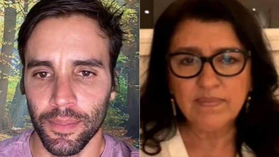 Daniel Cady acusou cozinheira de infectar a família, em live com Regina Casé, intérprete de Lourdes em Amor de Mãe - Reprodução Instagram