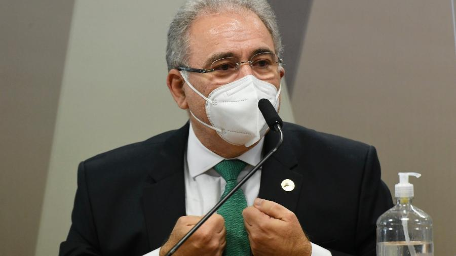 06.mai.2021 - O ministro da Saúde, Marcelo Queiroga, é ouvido na CPI da Covid, no Senado, em Brasília - Jefferson Rudy/Agência Senado