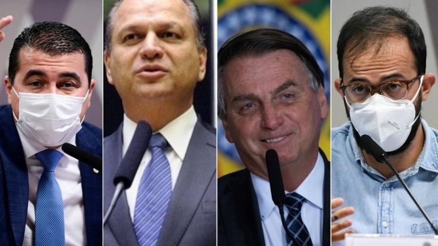 Da esquerda para a direita: Luis Carlos Miranda, Ricardo Barros, Jair Bolsonaro e Luis Ricardo Miranda - Agência Senado   Reuters   Câmara dos Deputados