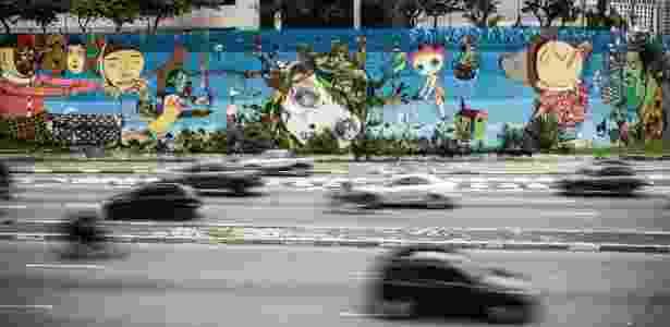 23.fev.2016 - Grafites de Nina Pandolfo, Nunca e Os Gêmeos - acesso à avenida 23 de Maio, em São Paulo - Lucas Lima/UOL - Lucas Lima/UOL