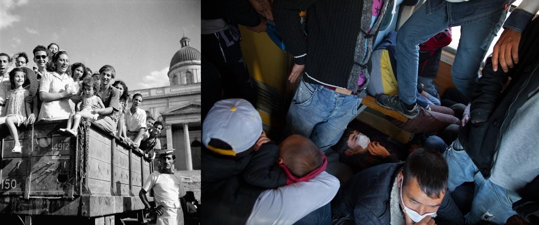 Transportes lotados são um transtorno na vida de de refugiados. Em 1946, na Grécia, crianças órfãs pela guerra se arrumam em um caminhão à espera de novas famílias. A imagem mais recente, por sua vez, mostra um garoto tentando dormir em um trem lotado em direção à fronteira da Sérvia