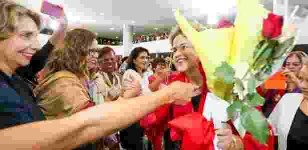 7.abr.2016 -  A presidente Dilma Rousseff participa do Encontro com Mulheres em Defesa da Democracia realizado no Palácio do Planalto, em Brasília (DF) - Palácio do Planalto/Divulgação