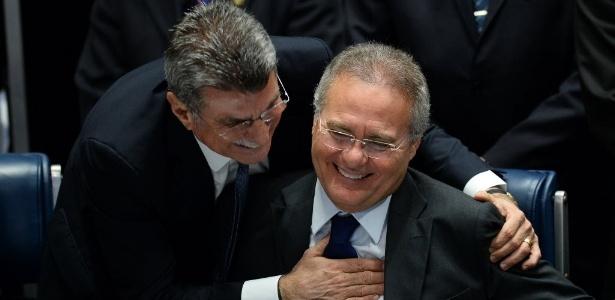 Senado tem 11 parlamentares investigados na Lava Jato, entre eles Romero Jucá (e) e Renan Calheiros