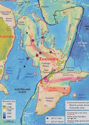 """O mapa da Zelândia mostra as seis paradas que cientistas da 'Expedição 371' farão no """"continente perdido"""""""