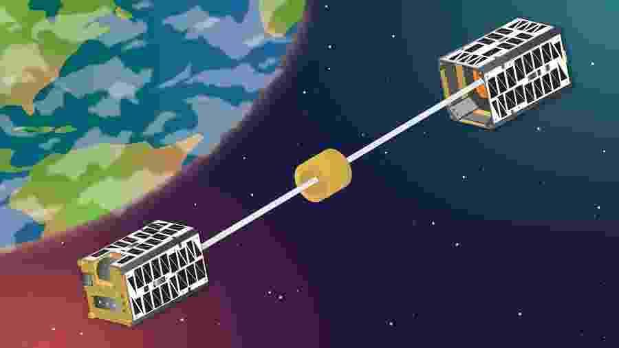 Ilustração do TEPCE, invento do Laboratório de Pesquisa Naval dos EUA para tirar lixo da órbita da Terra - Sarah Peterson/U.S. Naval Research Laboratory