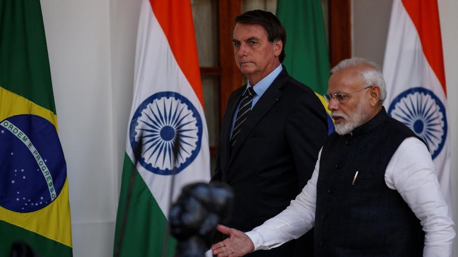 25.jan.2020 - O presidente Jair Bolsonaro e o primeiro-ministro da Índia, Narendra Modi, em encontro em Nova Déli - Altaf Hussain/Reuters