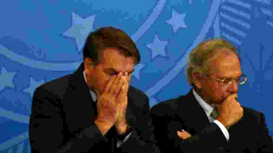 O presidente Jair Bolsonaro (sem partido) e o ministro da Economia, Paulo Guedes, em foto de arquivo - Cláudio Reis/Framephoto/Estadão Conteúdo