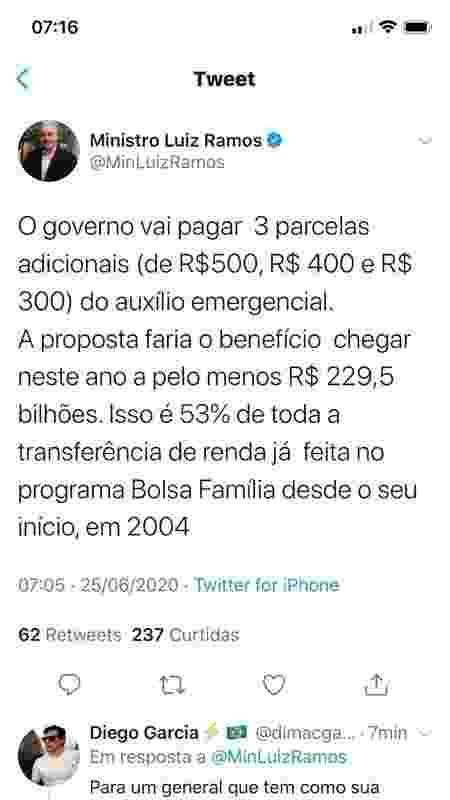 O ministro da Secretaria de Governo, Luiz Eduardo Ramos, anunciou pelo Twitter, que o governo pagaria parcelas adicionais do auxílio emergencial. No entanto, pouco depois, a postagem foi apagada - Reprodução/Twitter - Reprodução/Twitter