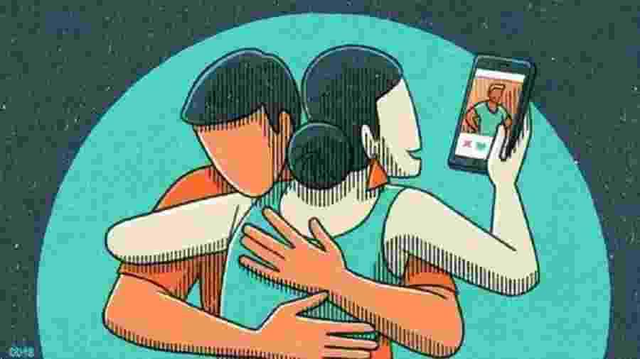 """Homens e mulheres revelam uso de aplicativos, chats e """"sexting"""" sem o conhecimento de seus parceiros - DANAE DIAZ/BBC THREE"""