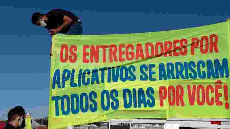Paralisação dos entregadores de aplicativo na cidade de Brasília (DF) (25/07/2020) - LEONARDO MILANO/ESTADÃO CONTEÚDO
