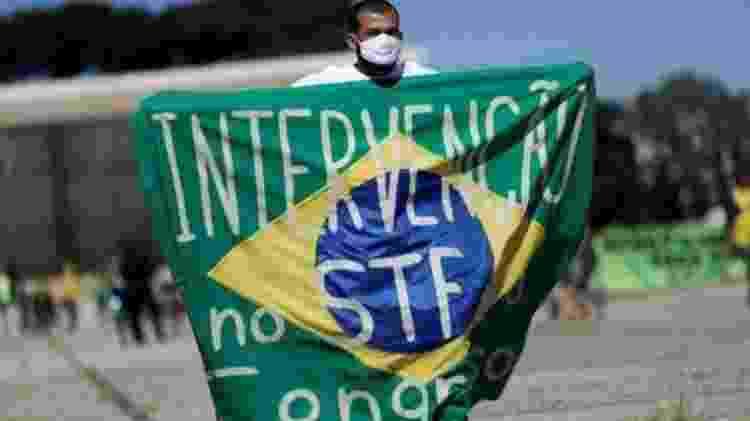 Manifestações organizadas por apoiadores de Bolsonaro pediam fechamento do Supremo e do Congresso Nacional - Reuters - Reuters