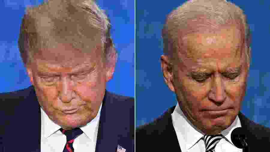 O primeiro debate presidencial entre Trump e Biden foi marcado por troca de acusações e bate-boca - Jim Watson/Saul Loeb/Montagem/AFP