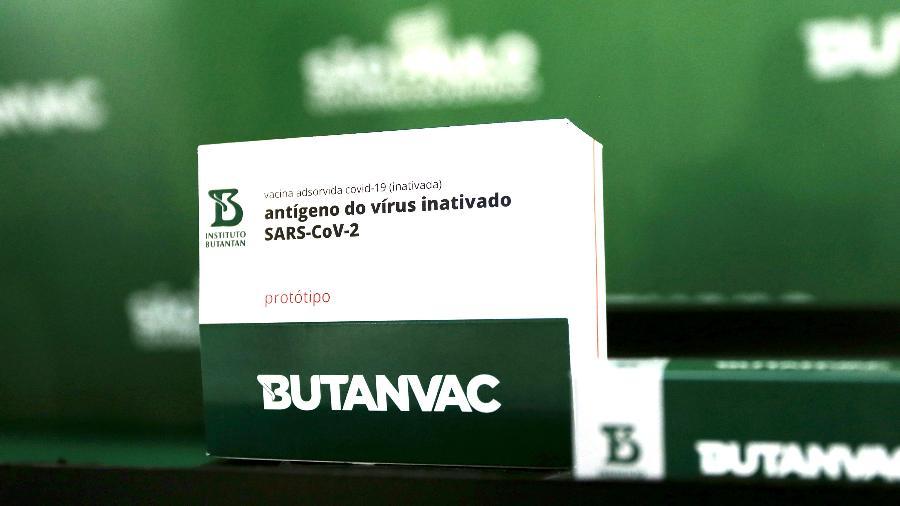 28.abr.2021 - Caixa da ButanVac, a vacina contra a covid-19 do Instituto Butantan - Divulgação/Governo do Estado de São Paulo
