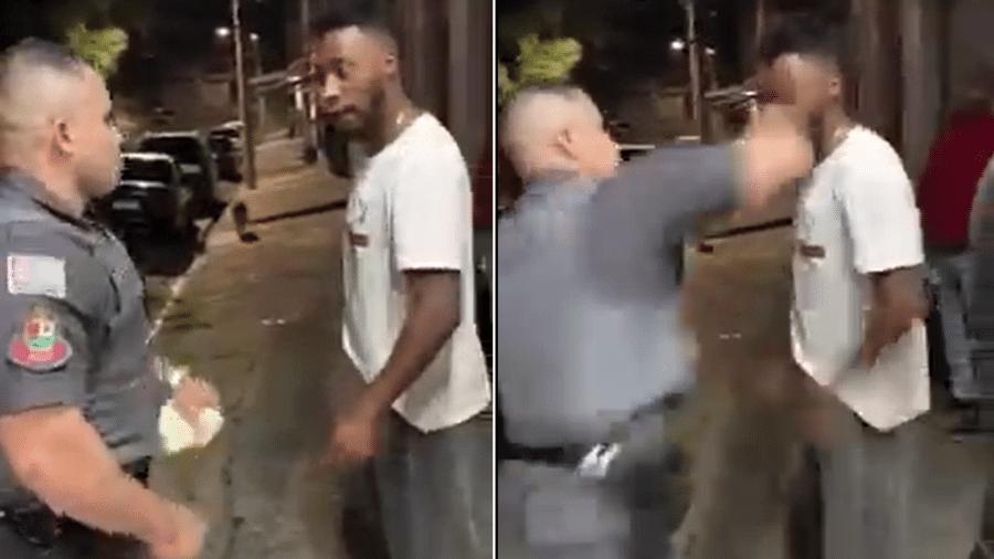 Rapaz foi agredido com soco no rosto por policial em Caieiras - Reprodução de vídeo